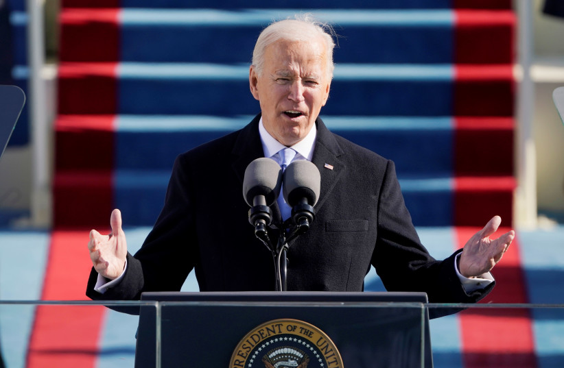 U.S. President Joe Biden speaks during the 59th Presidential Inauguration in Washington, U.S., January 20, 2021. (photo credit: PATRICK SEMANSKY/POOL VIA REUTERS)