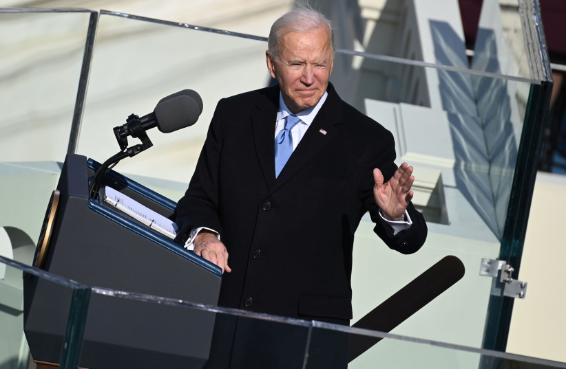U.S. President Joe Biden gives a speech after being sworn in as the 46th U.S. President in Washington, U.S., January 20, 2021. (photo credit: SAUL LOEB/POOL VIA REUTERS)