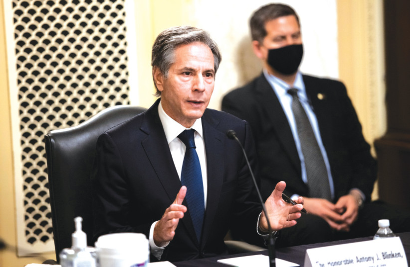 ANTONY J. BLINKEN speaks during his confirmation hearing before the US Senate Foreign Relations Committee in Washington, DC, on Tuesday.  (photo credit: GRAEME JENNINGS/POOL VIA REUTERS)