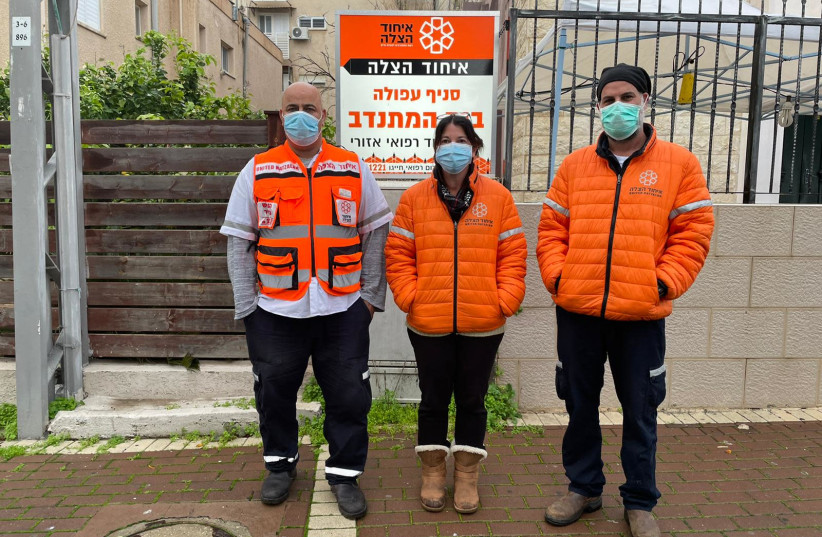 (L-R) United Hatzalah EMT volunteers Imad Zoabi, Keren Ezouz and Adi Kanias (photo credit: UNITED HATZALAH‏)