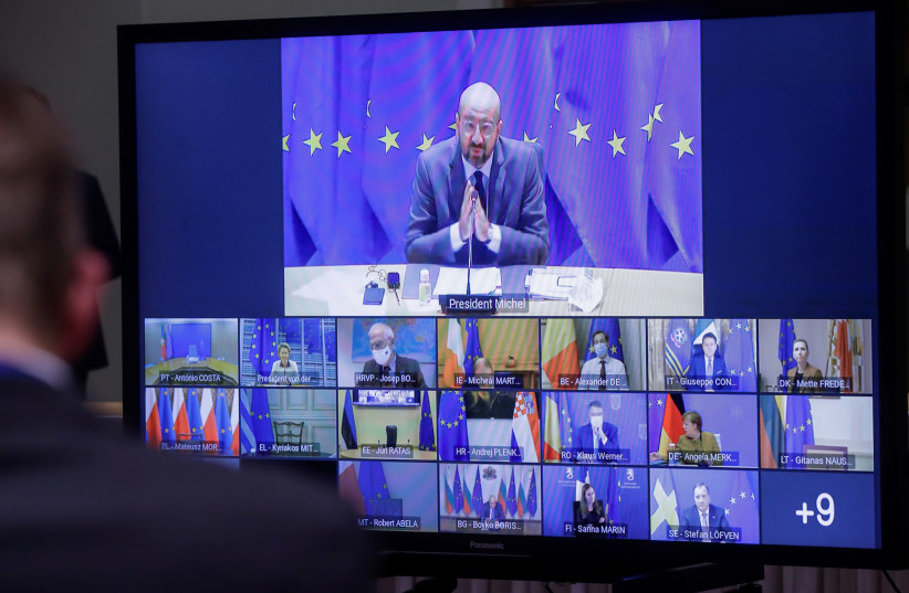 Videoconference of EU leaders to discuss COVID-19 (photo credit: REUTERS)