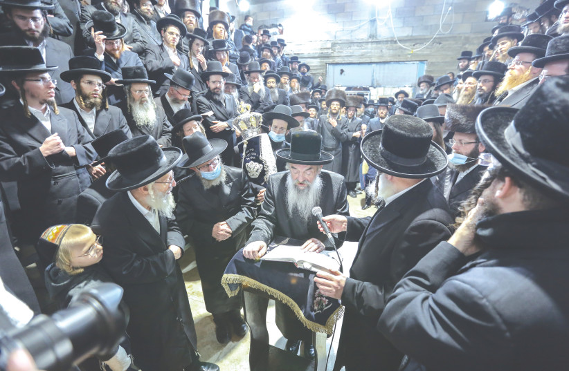 WHAT IN God's name are they doing? Ultra-Orthodox Jews at the Lvov synagogue in Safed three weeks ago. (photo credit: DAVID COHEN/FLASH 90)