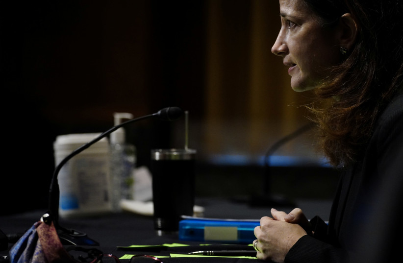 Nominee for Director of National Intelligence Avril Haines appears before the Senate Intelligence Committee during a confirmation hearing on Capitol Hill in Washington, U.S., January 19, 2021. (photo credit: REUTERS)
