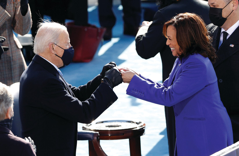 PRESIDENT JOE BIDEN and Vice President Kamala Harris during Wednesday's inauguration on the West Front of the US Capitol in Washington. (photo credit: BRENDAN MCDERMID/REUTERS)
