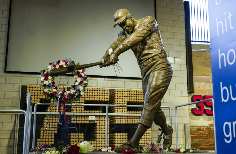 Scenes from the Hank Aaron statue and the Atlanta Braves Monument Garden at Truist Park home of the Atlanta Braves. (photo credit: USA TODAY)