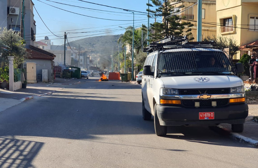 Police have been positioned in Tur'an due to a continued violent confrontation between two dominant families in the town, January 23, 2020. (photo credit: POLICE SPOKESPERSON'S UNIT)
