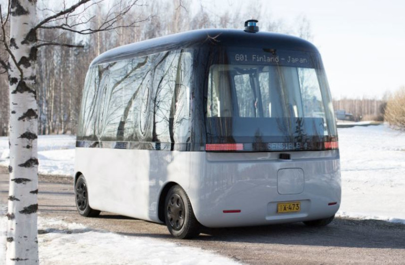 A shuttle utilizing Sensible 4's Dawn software for driverless driving, January 19, 2021. (photo credit: Courtesy)