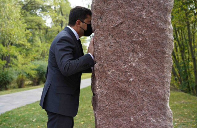 Ukraine's President Volodymyr Zelensky visits a memorial at Babyn Yar in September 2020 (photo credit: BABYN YAR HOLOCAUST MEMORIAL CENTER)