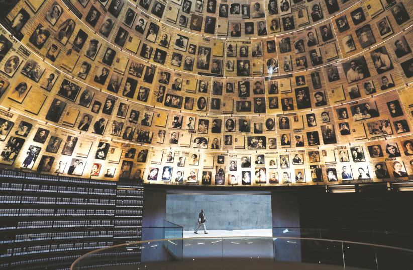 THE HALL of Names at the Yad Vashem World Holocaust Remembrance Center in Jerusalem, April 20, 2020. (photo credit: RONEN ZVULUN/REUTERS)
