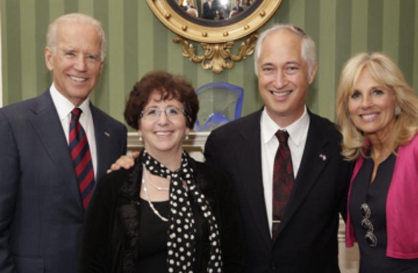 Rabbi Michael S. Beals and his wife, Elissa, with Joe and Jill Biden. (photo credit: Courtesy)