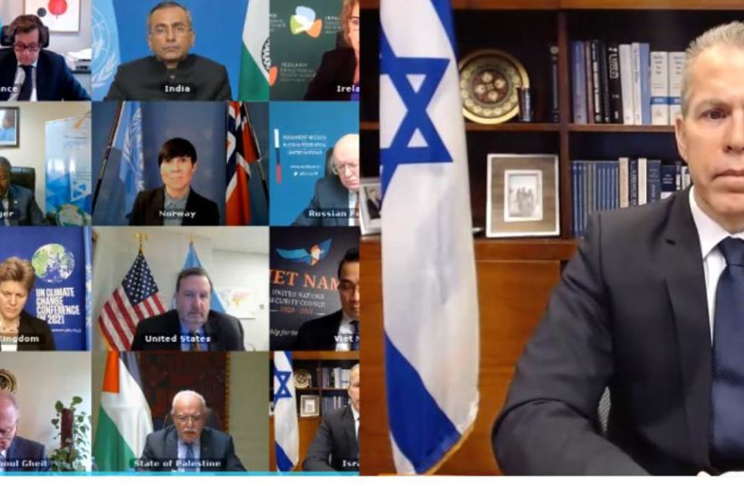 Israel's Ambassador to the UN, Gilad Erdan addresses a virtual UNSC meeting Tuesday. (photo credit: COURTESY ISRAEL'S UN MISSION IN NEW YORK)