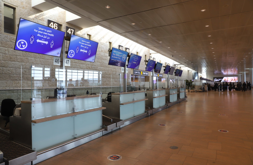 The departure hall of an almost empty Ben-Gurion Airport, January 25, 2021.  (photo credit: YOSSI ALONI/FLASH90)