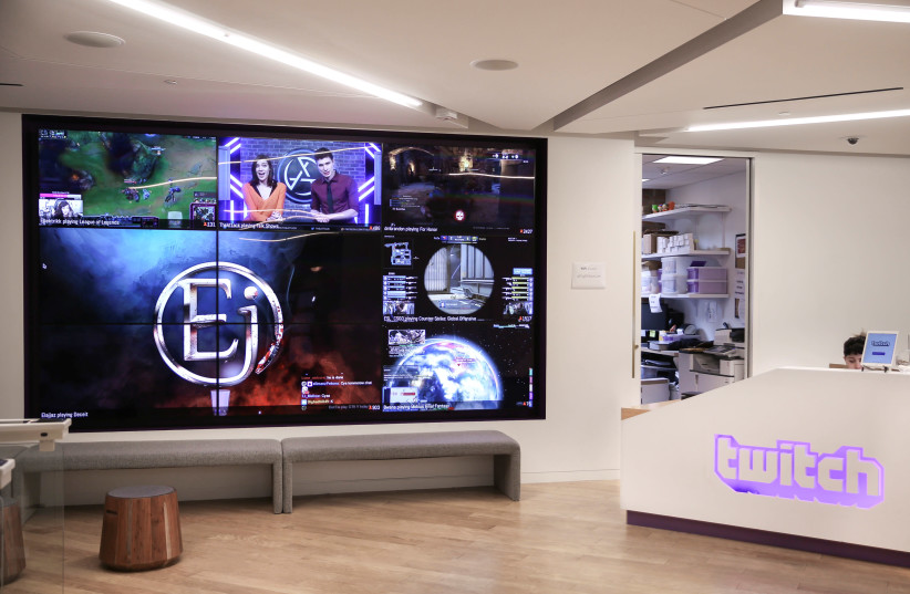 The lobby of Twitch Interactive Inc, a social video platform and gaming community owned by Amazon, is seen in San Francisco, California (photo credit: ELIJAH NOUVELAGE / REUTERS)