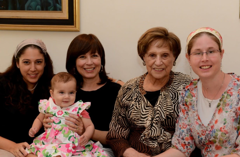 FOUR GENERATIONS reunited in Israel: Lea Landerer (second from right) with her daughter, granddaughters and great-granddaughter. (photo credit: RACHEL GRUNBAUM)