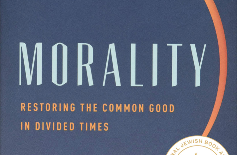 """""""Morality: Restoring the Common Good in Divided Times"""" by Jonathan Sacks  (photo credit: NATIONAL JEWISH BOOK AWARDS)"""