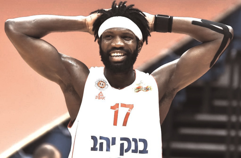 HAPOEL JERUSALEM and big man Suleiman Braimoh were ousted from the Balkan League and FIBA Champions League, but still are in the middle of the Israeli Winner League season.  (photo credit: DOV HALICKMAN PHOTOGRAPHY)