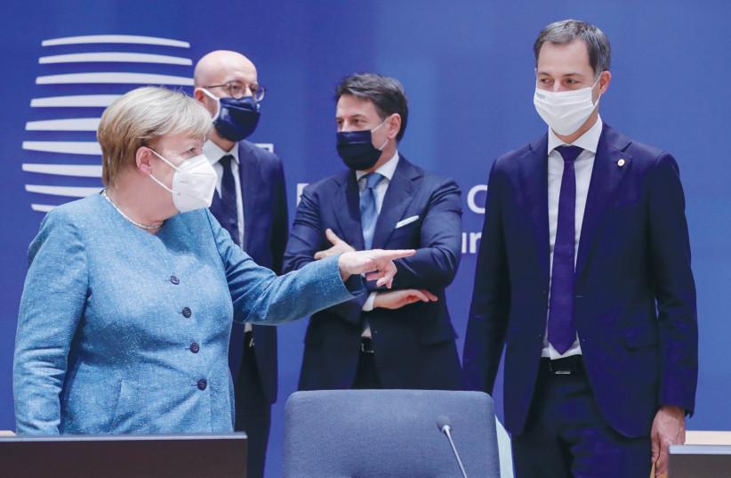 GERMAN CHANCELLOR Angela Merkel, European Council President Charles Michel, Italian Prime Minister Giuseppe Conte and Belgian Prime Minister Alexander De Croo talk in Brussels in October. (photo credit: OLIVIER HOSLET/REUTERS)