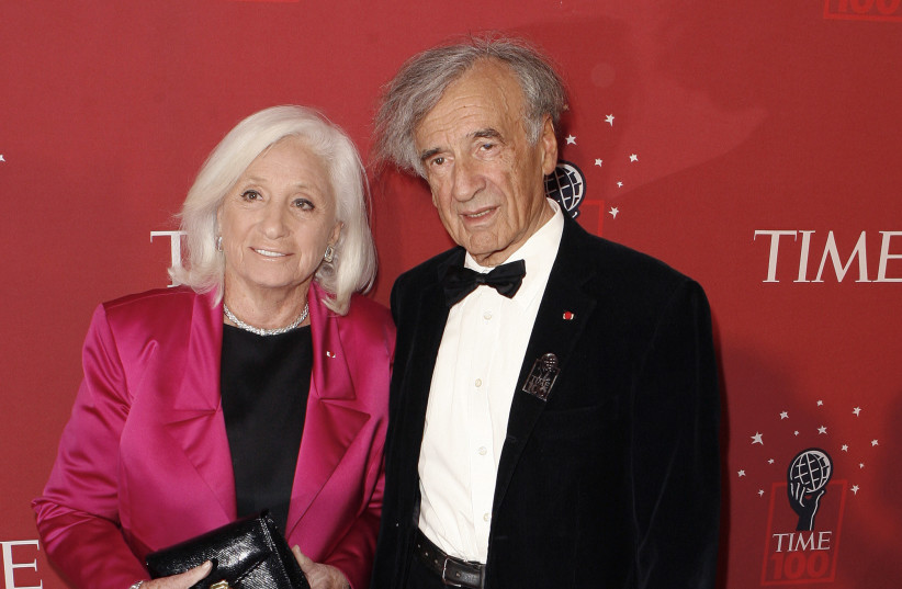 """Holocaust survivor Elie Wiesel arrives with wife, Marion Erster Rose, to attend the """"100 Most Influential People In The World"""" gala hosted by Time Magazine in New York (photo credit: REUTERS)"""