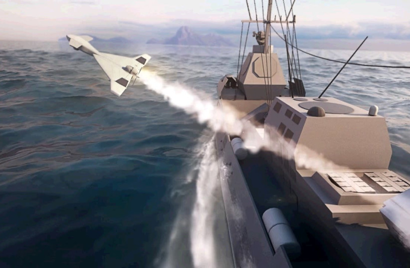 The Harop is seen launched at sea. (photo credit: IAI)