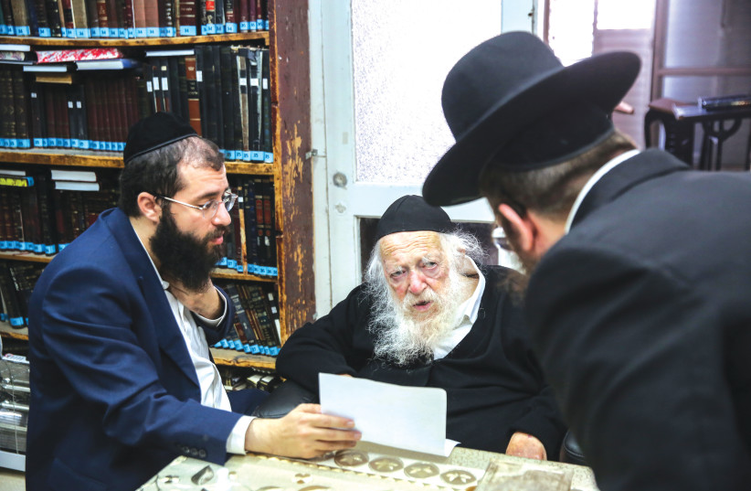 'HELLO, CAN I speak with Yanki, please?' Rabbi Chaim Kanievsky seen at his home in the city of Bnei Brak, in December 2020. (photo credit: DAVID COHEN/FLASH 90)