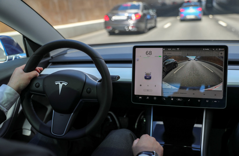 The interior of a Tesla Model 3 electric vehicle is shown in Moscow (photo credit: REUTERS)