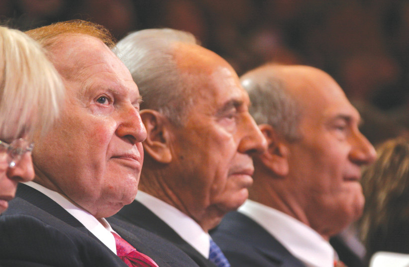 (FROM LEFT), Sheldon Adelson, former president Shimon Peres and former prime minister Ehud Olmert attend a conference in Jerusalem in 2008. (photo credit: ANNA KAPLAN/FLASH90)