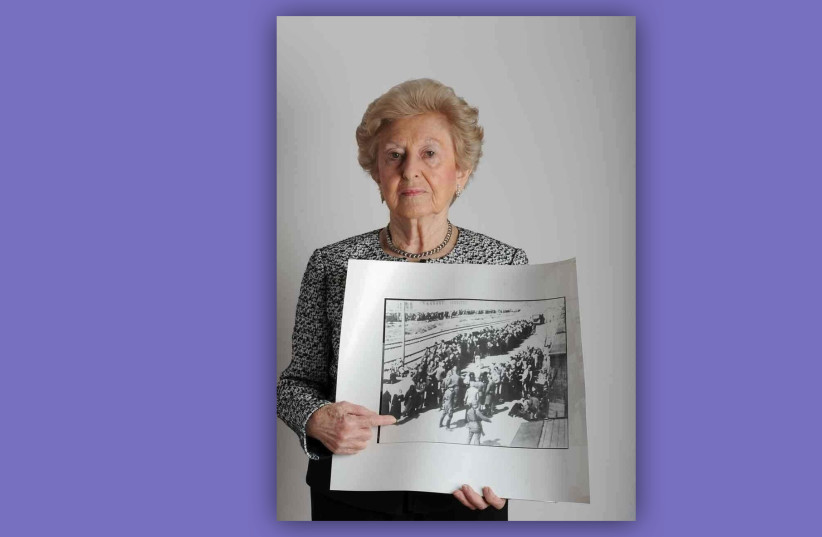 Irene Fogel Weiss points to a photo of herself upon arrival in Auschwitz in May 1944. (photo credit: LESLEY WEISS)