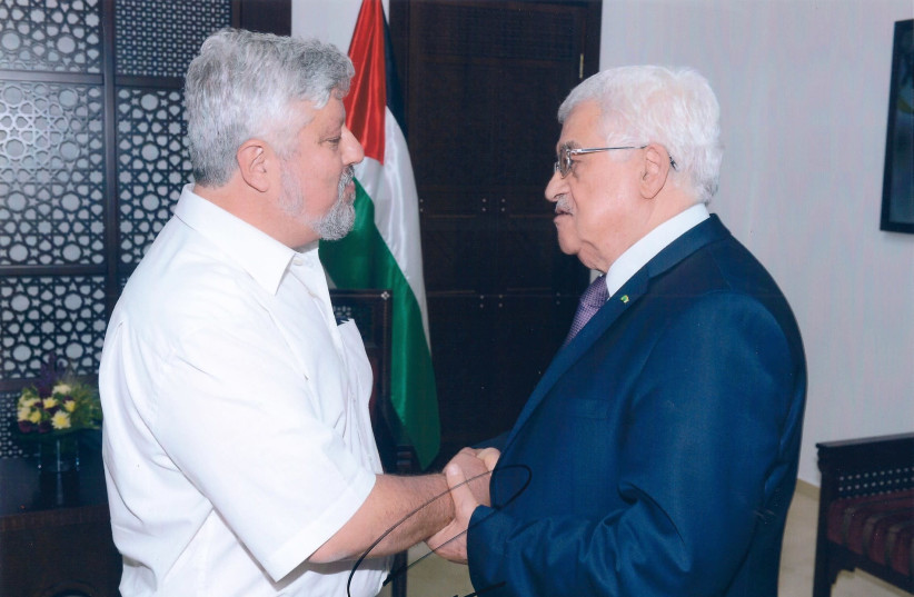 GERSHON BASKIN and PA President Mahmoud Abbas (right) – serious discussions. (photo credit: Courtesy)