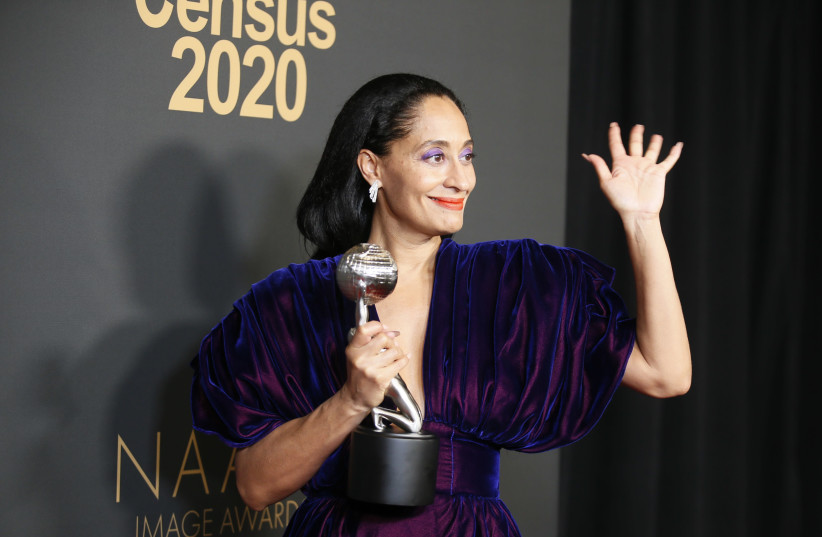 """51st NAACP Image Awards: Tracee Ellis Ross poses backstage with her Outstanding Actress in a Comedy Series for """"Blackish (photo credit: DANNY MOLOSHOK/REUTERS)"""