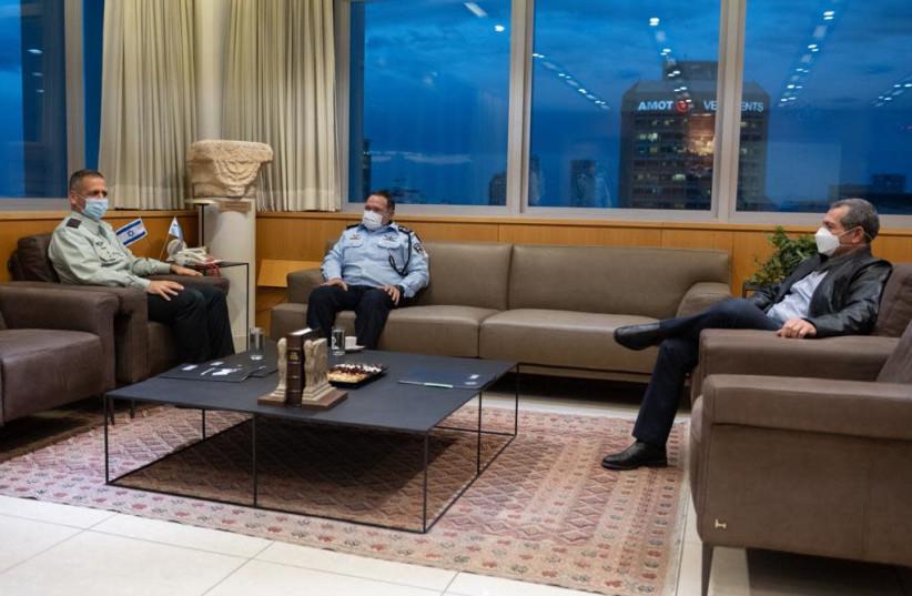 IDF Chief of Staff Lt.-Gen. Aviv Kochavi, Police Commissioner Kobi Shabtai, and Shit Bet head Nadav Argaman (photo credit: IDF SPOKESPERSON'S UNIT)