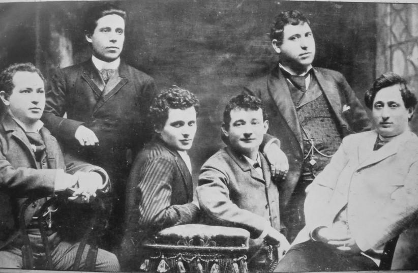Yiddish theater members, from right, Jacob Adler, Zigmund Feinman, Zigmund Mogulesko, Rudolf Marx, Mr. Krastoshinsky and David Kessler in 1888. (photo credit: Wikimedia Commons)