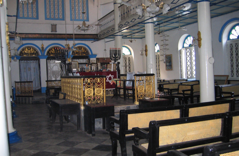 Inside the Musmeach Yeshua Synagogue in Yangon, Myanmar (photo credit: BEN G. FRANK)