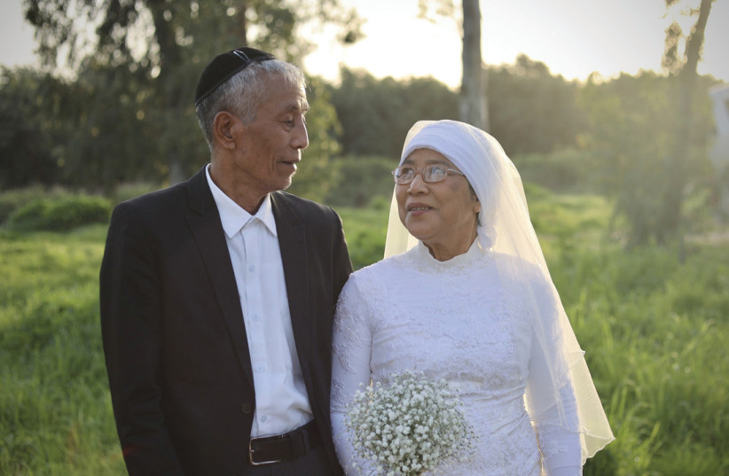 MACCABI HNAMTE (72) and his wife, Sarah (70), were among the Bnei Menashe couples who remarried recently at Shavei Israel's immigrant absorption center in Nordia. (photo credit: LAURA BEN-DAVID/SHAVEI ISRAEL)