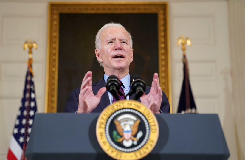 US President Joe Biden speaks at the White House (photo credit: REUTERS/KEVIN LAMARQUE)
