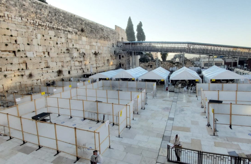 Western Wall on the first day after COVID-19 lockdown is lifted  (photo credit: WESTERN WALL HERITAGE FOUNDATION)