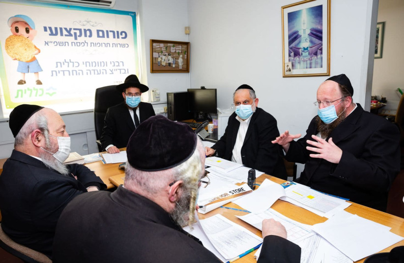 Rabbis and experts meeting to discuss the list of kosher for Passover medicine.  (photo credit: Courtesy)
