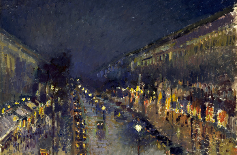'The Boulevard Montmartre at Night' by Camille Pissarro, on display at the National Gallery, London. (photo credit: WIKIPEDIA)