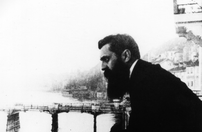 THEODOR HERZL, on the balcony of the Three Kings Hotel in Basel in 1898, during the First Zionist Congress. (photo credit: GPO)