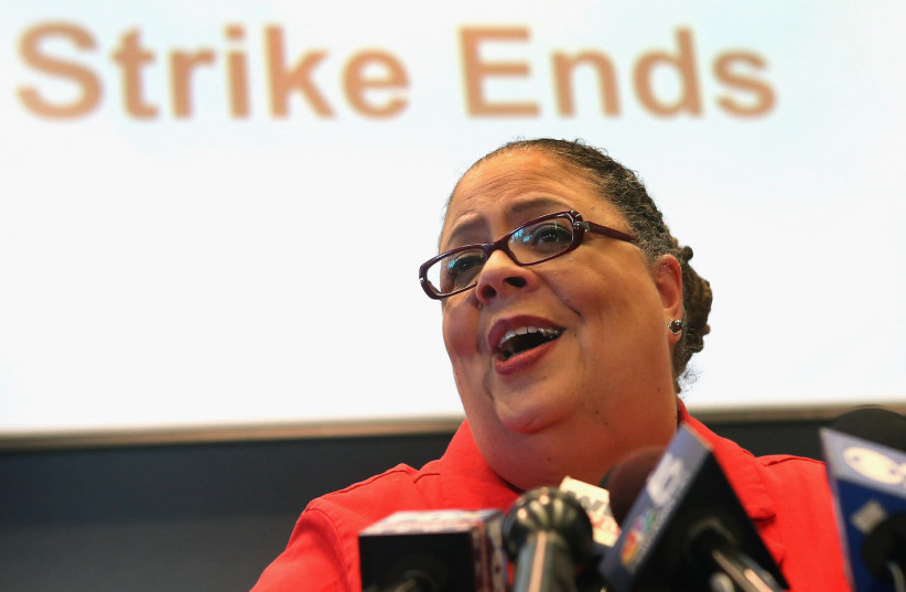 Karen Lewis holds a press conference after Chicago Teachers Union delegates voted to end their 2012 strike (photo credit: SCOTT OLSON/GETTY IMAGES/JTA)