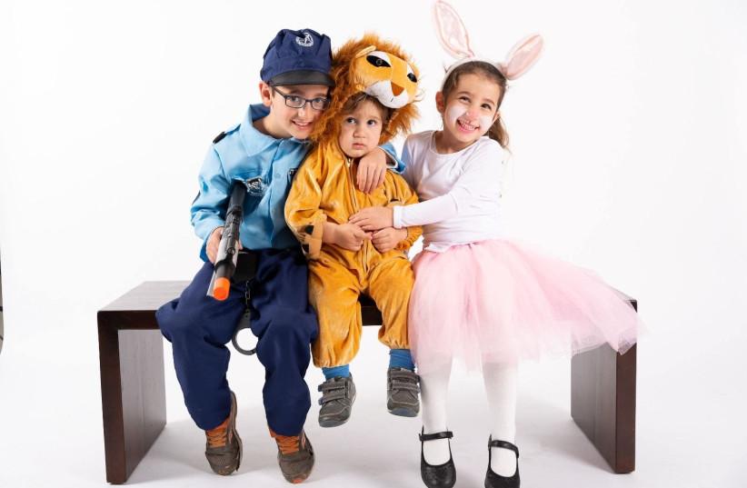 Israeli kids in Purim costumes (photo credit: CHEN DVORA HAMAMI)