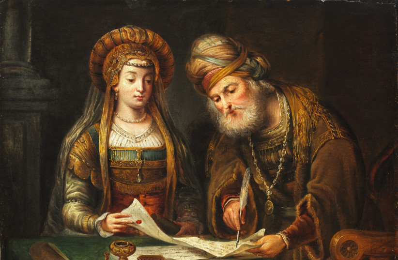 'Esther and Mordecai' by Aert de Gelder, a student of Rembrandt, which  is now in the Museum of Fine Arts in Budapest. (photo credit: Wikimedia Commons)