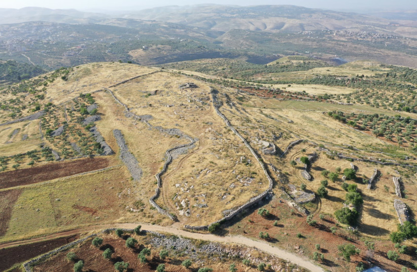 An aerial view of the biblical site of Joshua's altar on Mount Ebal. (photo credit: SHUKI LEVINE)