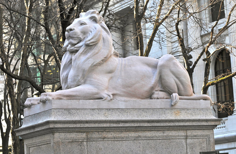 New York Public Library lion statue (photo credit: Wikimedia Commons)