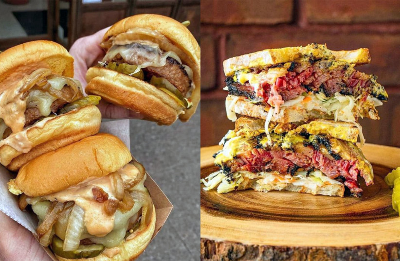 Left: Beyond Burgers from Diller; right: a sandwich from Izzy's BBQ. (photo credit: DANI KLEIN)