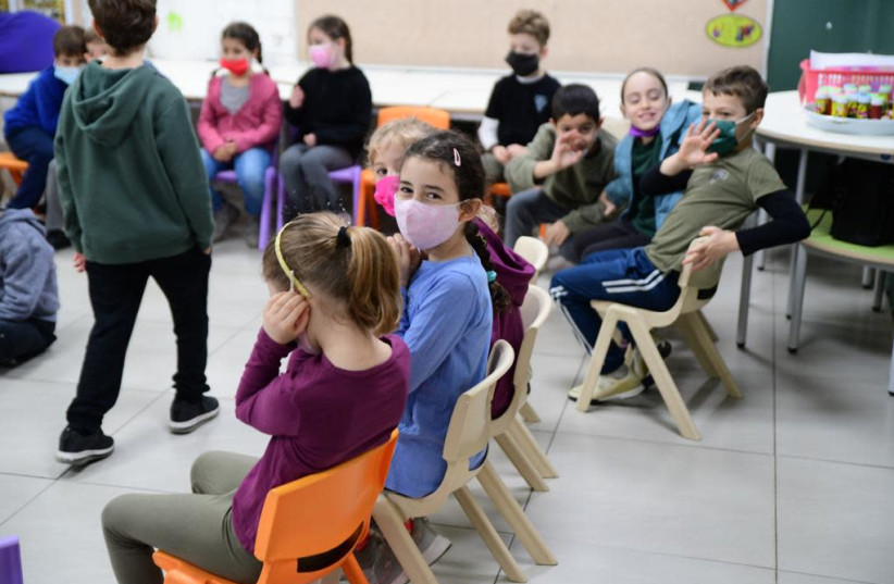 Schools reopen after third national coronavirus lockdown, Feb. 11, 2020 (photo credit: AVSHALOM SASSONI/ MAARIV)