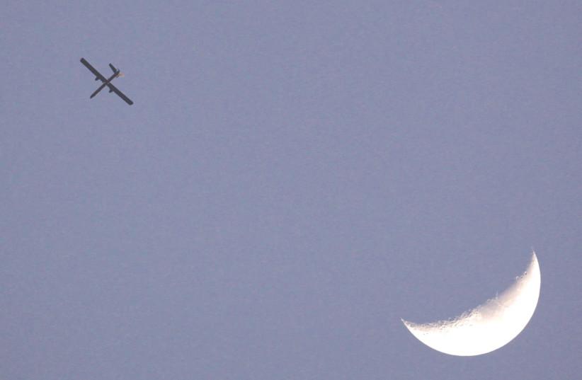 AN ISRAELI drone patrols the skies over the Gaza Strip. (photo credit: DARREN WHITESIDE / REUTERS)