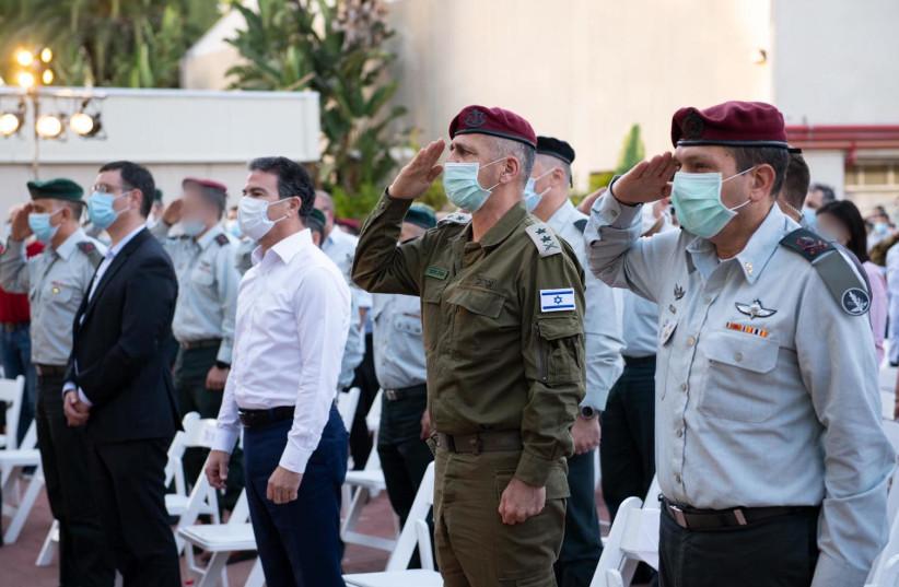 Maj.-Gen. Aharon Haliva (right), the incoming head of Military Intelligence with IDF Chief of Staff Lt.-Gen. Aviv Kochavi and Mossad director Yossi Cohen.  (photo credit: Wikimedia Commons)