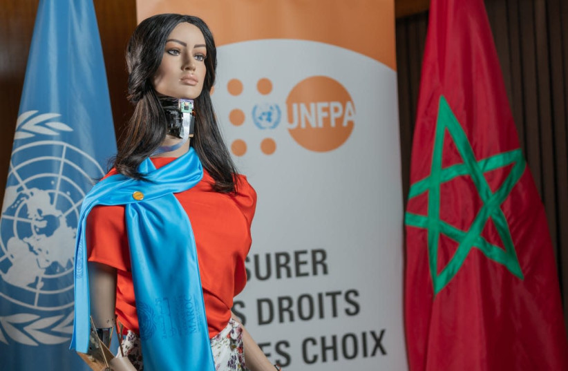 """Morocco's first humanoid robot, called """"Shama."""" Prof. Hajar Mousannif led the team of researchers responsible for the robot's creation. (photo credit: Courtesy)"""