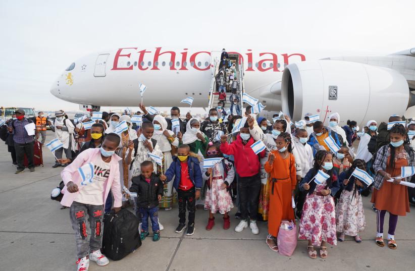 Ethiopian-Jewish immigrants arrive in Israel on Frebruary 12, 2021. (photo credit: ICEJ)