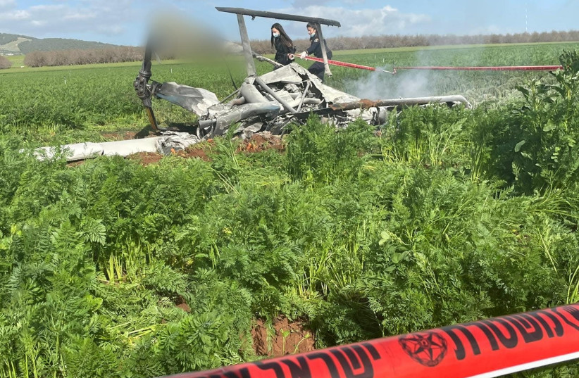 Two people were pronounced dead by Magen David Adom after a small aircraft crashed near the northern city of Afula. (photo credit: ISRAEL POLICE)